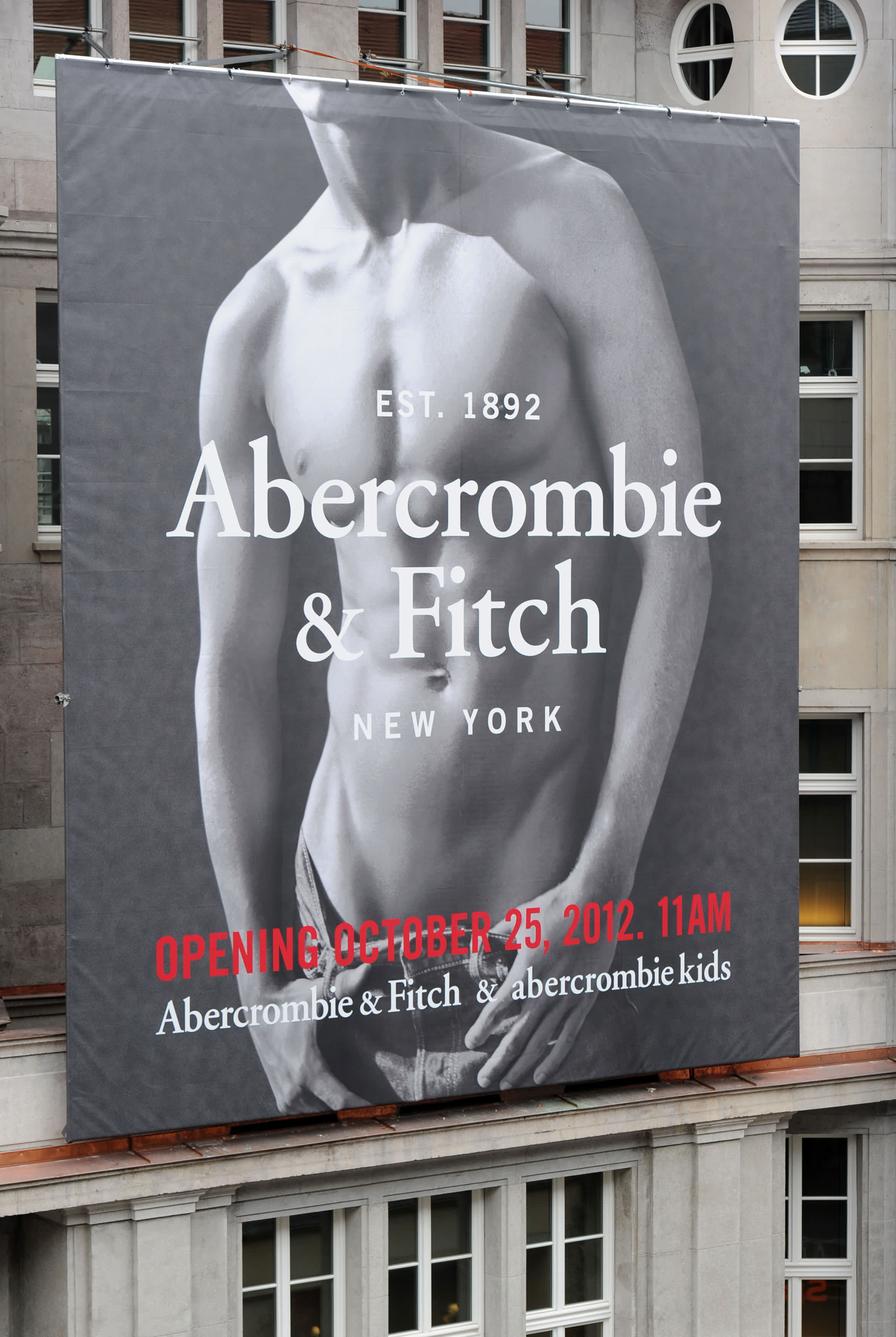 A placard of Abercrombie & Fitch hangs at the opening of a flagship store on October 25, 2012 in Munich, Germany.