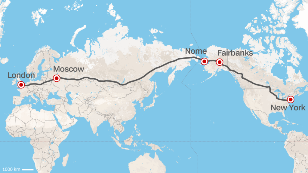 Road From Europe To US Russia Proposes Superhighway CNN Travel - World map russia us