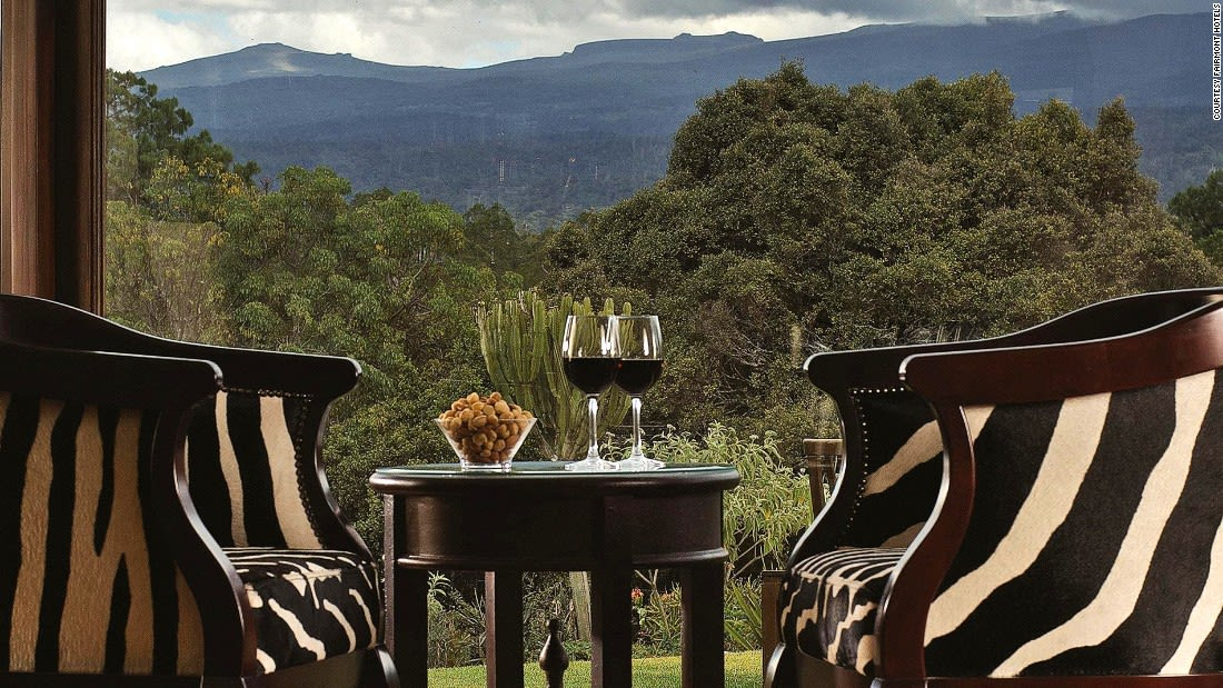 Kenya bars Zebar at Mt Kenya Safari Club - view of Mt Kenya. Photo courtesy Fairmont Hotels