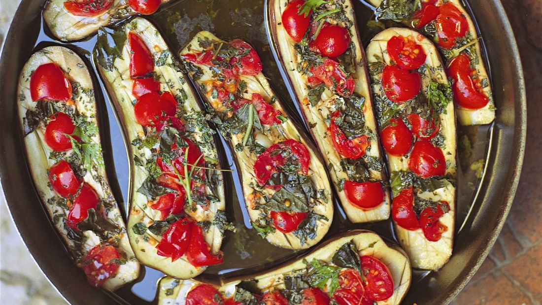 "The name of this dish in Italian is ""Melanzane ripiene al forno."""