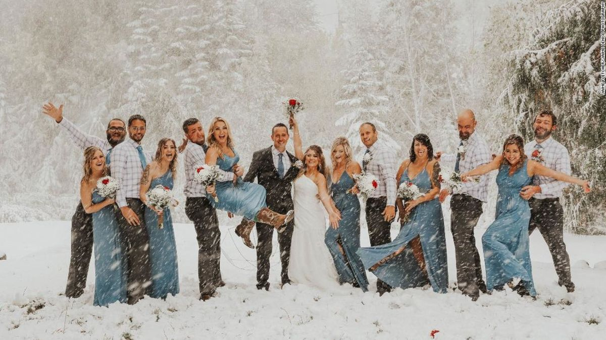 They planned the perfect fall wedding. Then a snowstorm hit