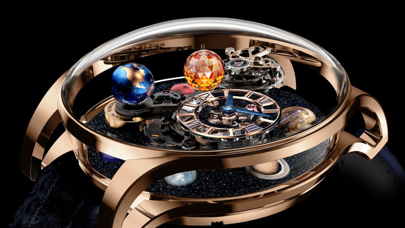 """A Jacob & Co watch featured in the exhibition """"Astronomy: Time & Space,"""" which explores horologists' fascination with the cosmos."""