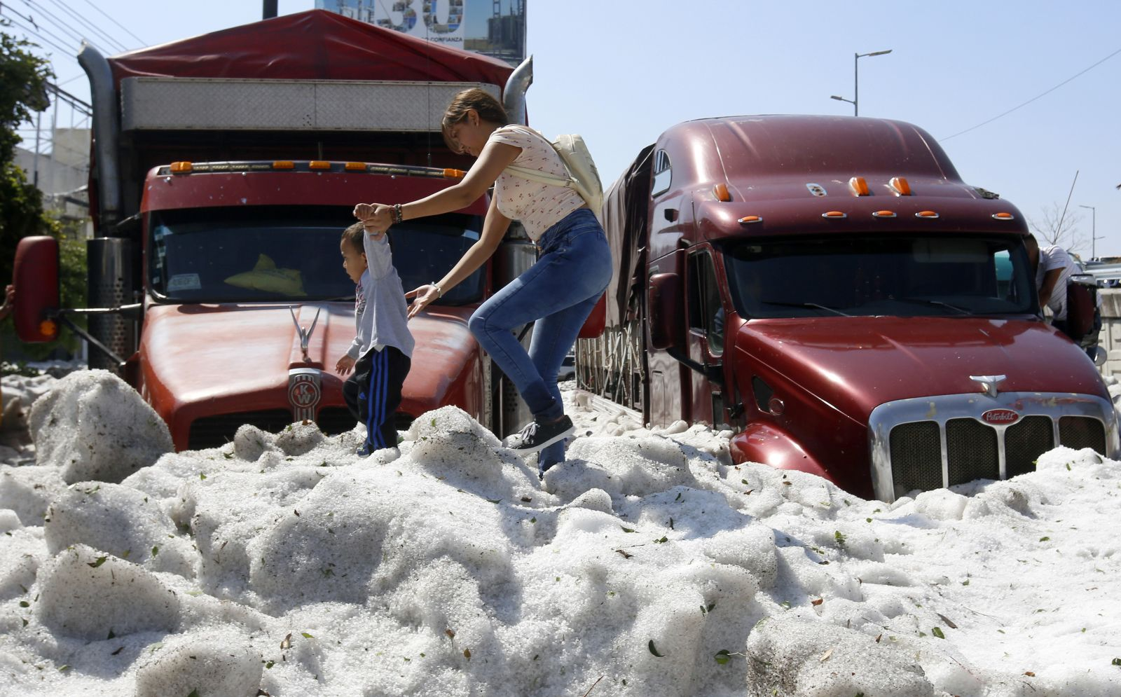 In pictures: Mexican city struck by 'freakish' hailstorm