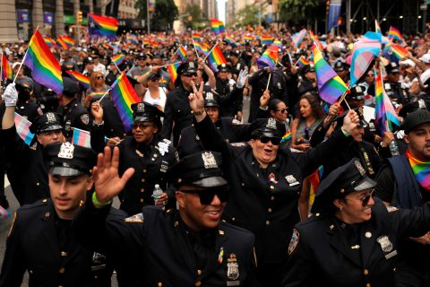 New York City Police officers participate in the parade. Lucas Jackson/Reuters