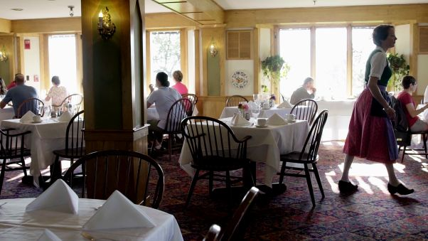Waitstaff still wear traditional Austrian costumes in the main dining room.