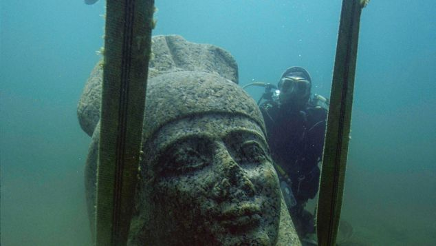 One of the many ancient statues Franck Goddio's team discovered beneath the sea.