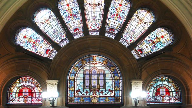 Stained-glass windows in the Queen Victoria Building in Sydney.