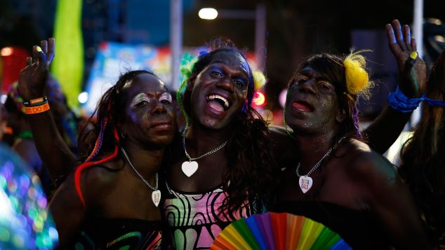 Members of the Tiwi Islands transgender community attend the Sydney Gay and Lesbian Mardi Gras parade in Sydney.