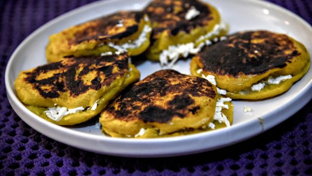 Corn-dough patties topped with tastiness.