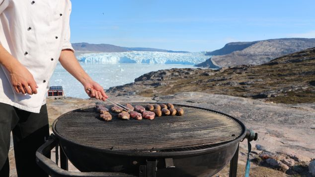 A unique Eqi experience -- a barbeque in view of the ice fjords.