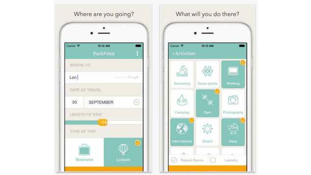 Best travel apps Packpoint