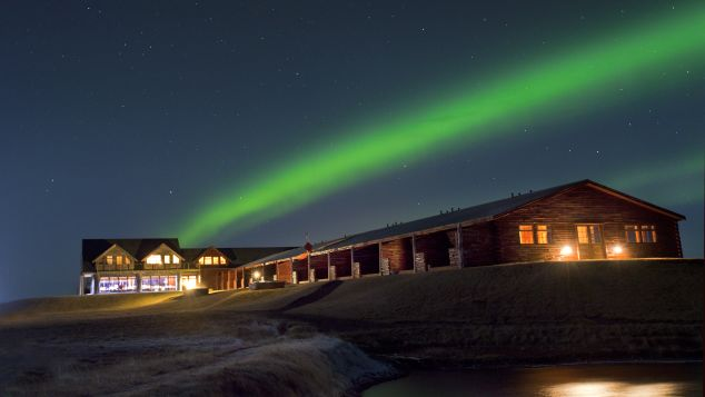 Northern Lights over Hotel Ranga in Iceland