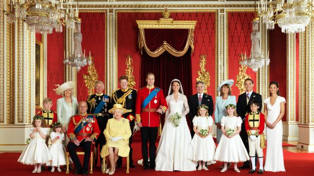 The Royal Wedding Group in the Throne Room at Buckingham Palace in London on April 29, 2011 w