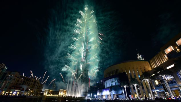 Fireworks explode from the Burj Khalifa, the world's tallest tower, in Dubai.