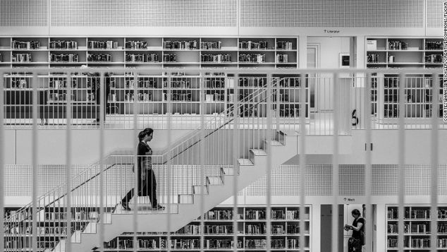Stuttgart City Library is contained within a white cube.