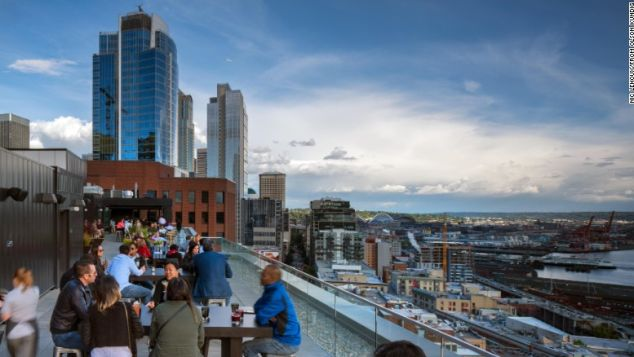 Perched high atop the luxury Thompson Seattle hotel, The Nest bar affords amazing views.