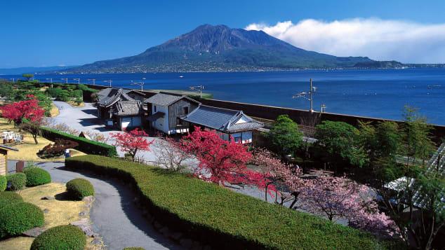 Vườn senganen đẹp của Nhật Bản Mt.  Xem Sakurajima