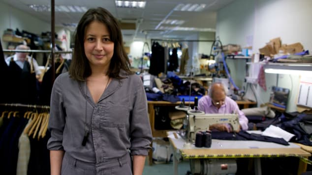 It's not just the customers that are women. Emily Squires is one of Poole's tailors.