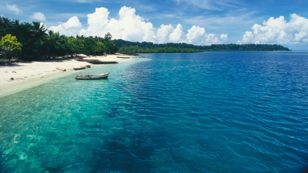 A view of Havelock Beach in the Andaman and Nicobar Islands.