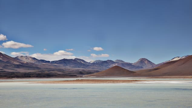 Paider always packs tea and snacks, jet lag pills, basic cosmetics and a yoga mat. Pictured here: Laguna Colorada, Bolivia.