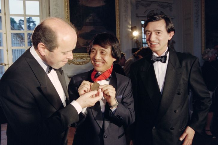 Tadao Ando is awarded the Pritzker Architecture Prize in Versailles on May 22, 1995.
