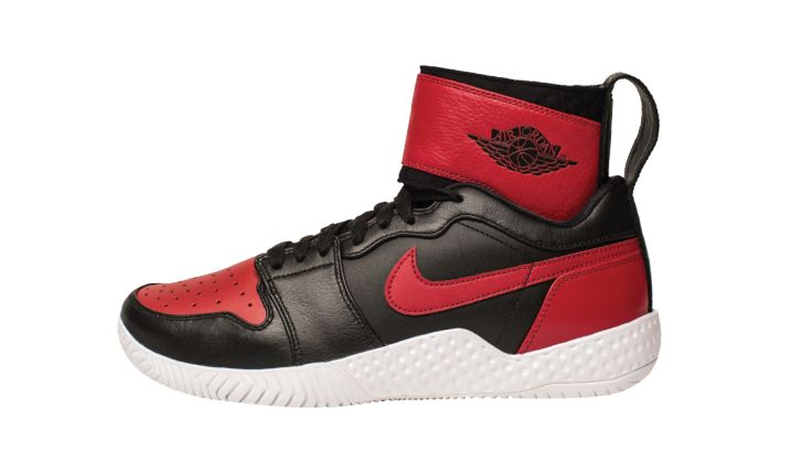 "#23 lasered Air Jordan 1 x Nike Flare in ""Banned"" colrway, designed custon for Serena Williams in honor of her 23rd Grand Slam victory."