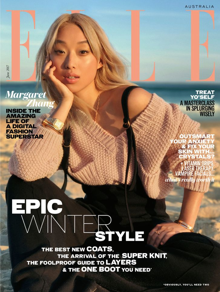 Earlier this year, Zhang featured on the cover of Elle Australia. This image was shot entirely on an iPhone, by photographer Georges Antoni.