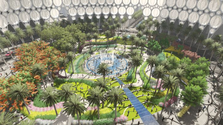 Inside the Al Wasl Plaza. The legacy team plan to transform the large dome into a park area when the expo is over.