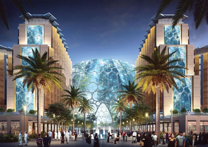 The Al Wasl Plaza lit up at night. The space at the heart of the expo site is set to live beyond the six-month event as the central hub of a new district in Dubai South.