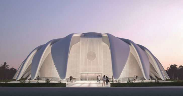 The UAE Pavilion for Dubai 2020, designed by Santiago Calatrava and inspired by the wings of a falcon.