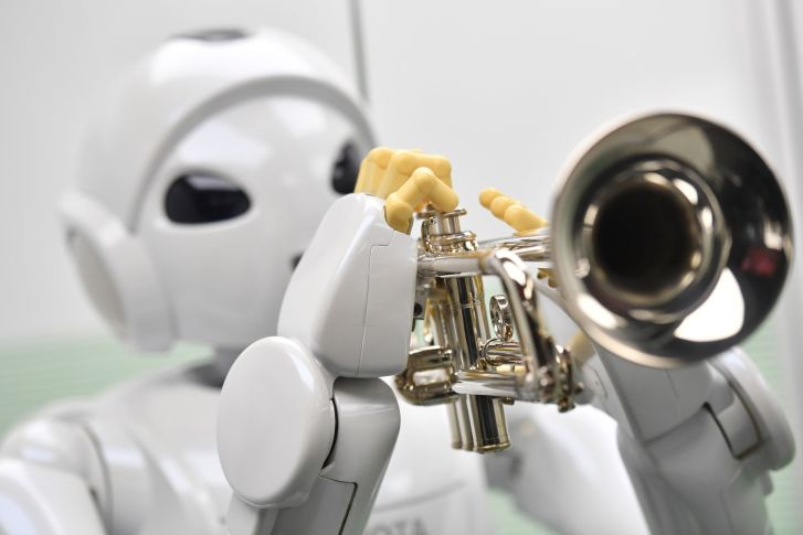 Harry, a robot designed by Toyota in 2005, can play the trumpet.