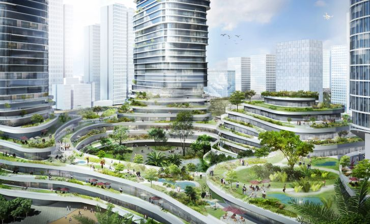 The building's podium is expected to host water features and a variety of local plant species.