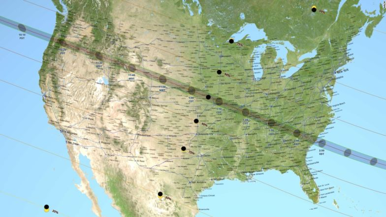 This NASA map shows the path of the first total solar eclipse to cross the entire US in 99 years.