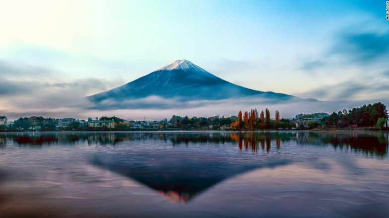 Japan's Mount Fuji is a great place to start your climb-a-mountain assignment.