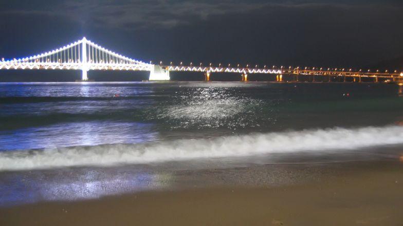The Diamond Bridge at dusk.