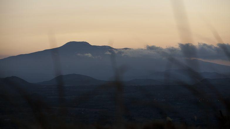 Halla Mountain at sunset.