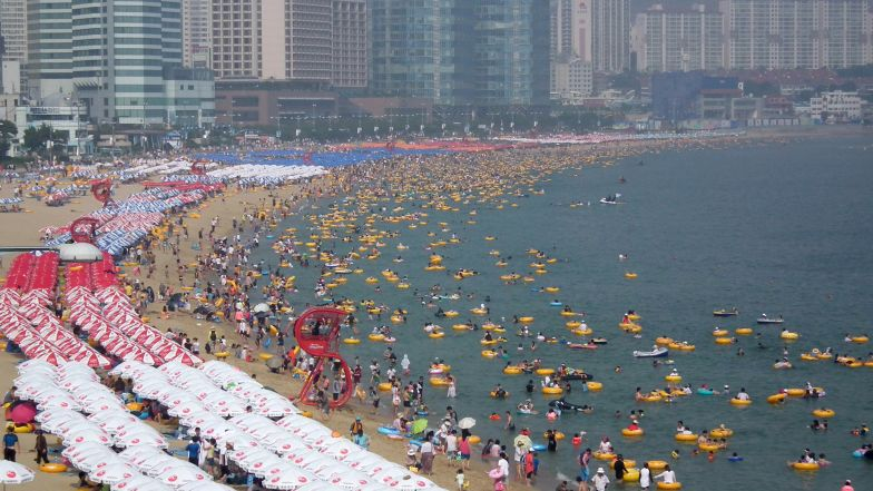 The beach of Haeundae in South Korea's southern port city of Busan.